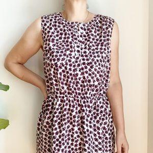 Ann Taylor Loft White Burgundy Brown Midi Dress L